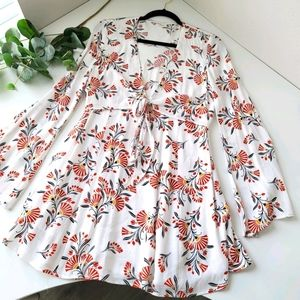 Olivaceous floral boho bell sleeve mini dress